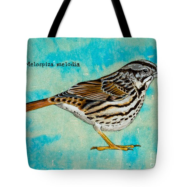 Melospiza Melodia Tote Bag by Stefanie Forck