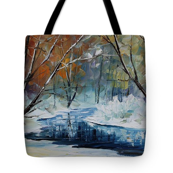 Lost In Winter - Palette Knife Oil Painting On Canvas By Leonid Afremov Tote Bag