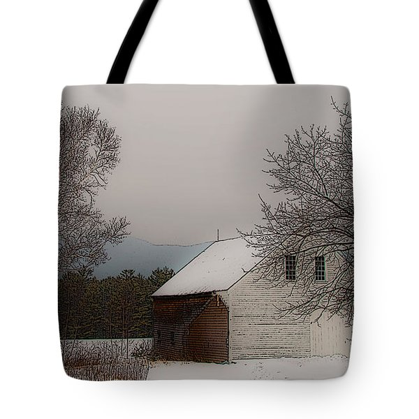 Melvin Village Barn In Winter Tote Bag
