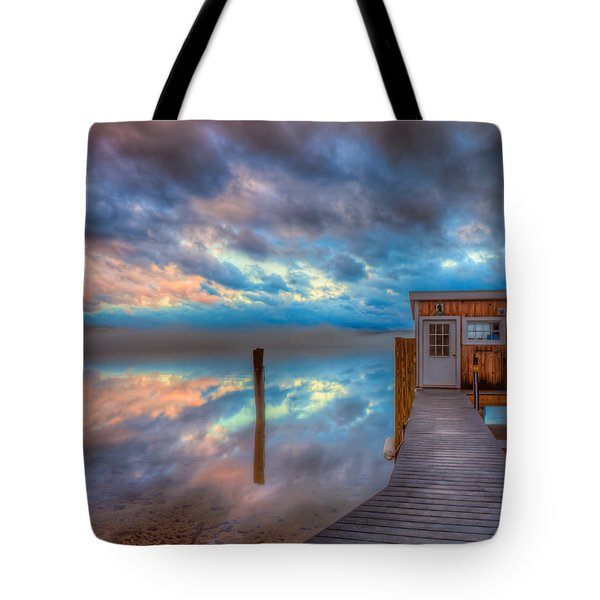 Melvin Village Marina In The Fog Tote Bag