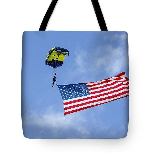 Member Of The U.s. Navy Parachute Team Tote Bag