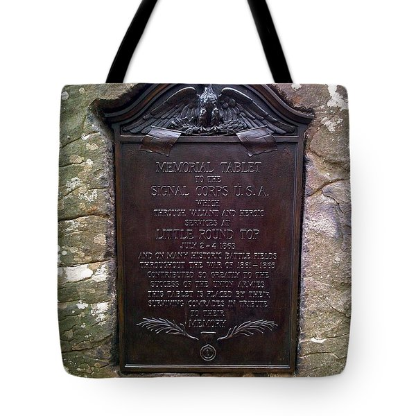 Memorial Tablet To Signal Corps U.s.a. Tote Bag