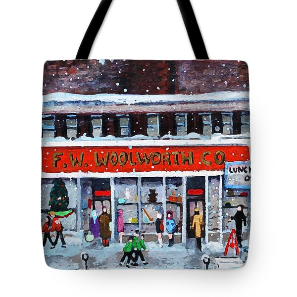 Tote Bag featuring the painting Memories Of Winter At Woolworth's by Rita Brown