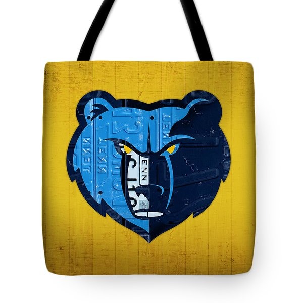 Memphis Grizzlies Basketball Team Retro Logo Vintage Recycled Tennessee License Plate Art Tote Bag