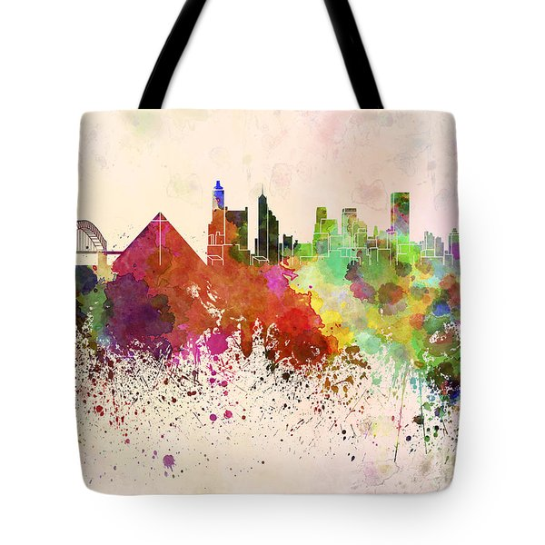 Memphis Skyline In Watercolor Background Tote Bag by Pablo Romero