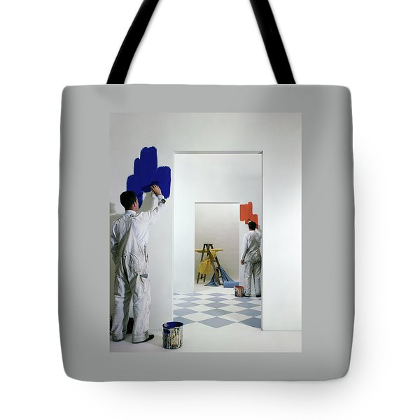 Men Painting Walls Tote Bag