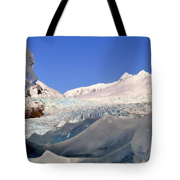 Tote Bag featuring the photograph Mendenhall Glacier Refraction by Cathy Mahnke