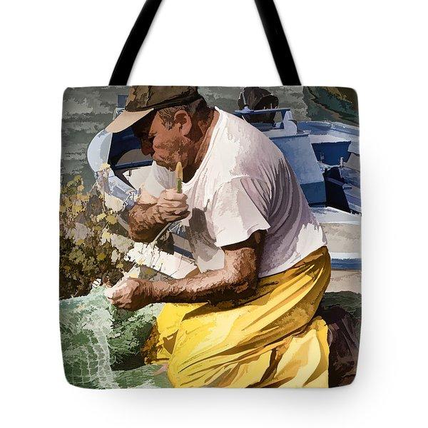 Mending The Net - Catania Sicily Tote Bag by Jon Berghoff