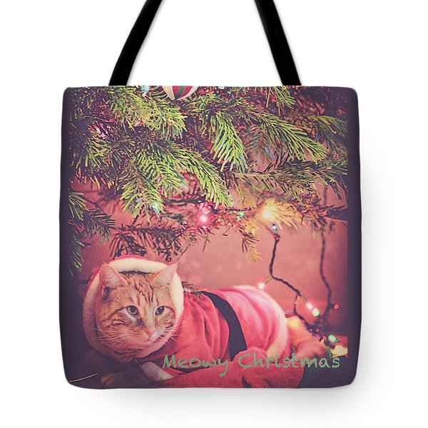 Meowy Christmas Tote Bag by Melanie Lankford Photography