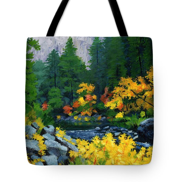 Merced River In Autumn Tote Bag by Alice Leggett