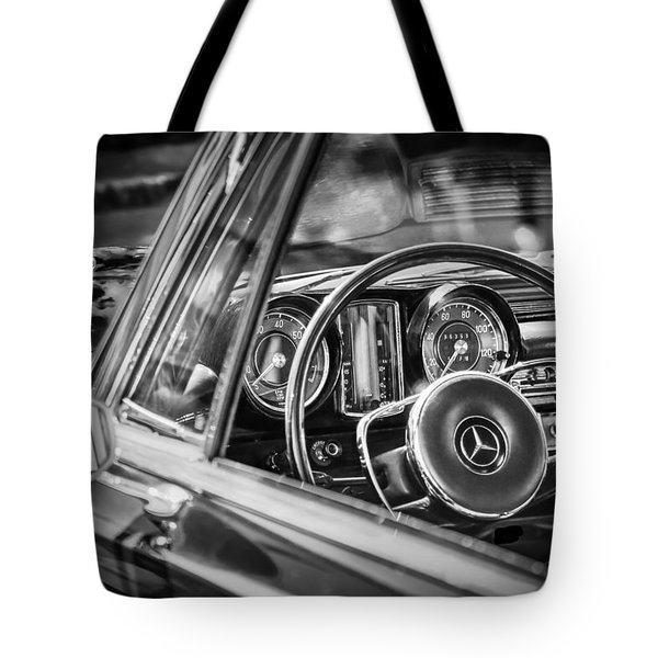 Tote Bag featuring the photograph Mercedes-benz 250 Se Steering Wheel Emblem by Jill Reger