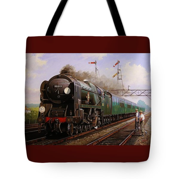 Merchant Navy Pacific At Brookwood. Tote Bag