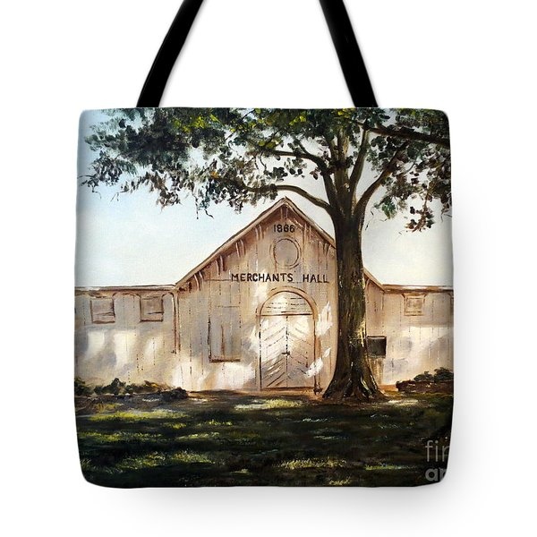 Tote Bag featuring the painting Merchants Hall by Lee Piper