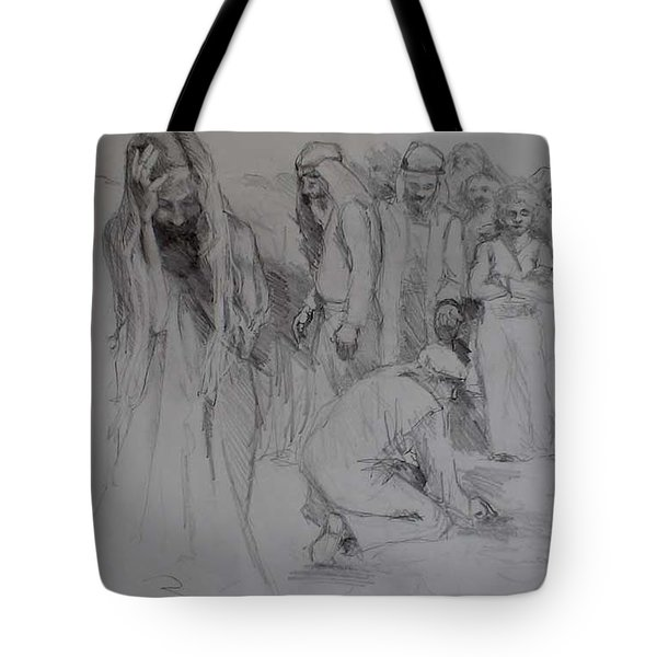 Mercy Sketch Tote Bag by Jani Freimann