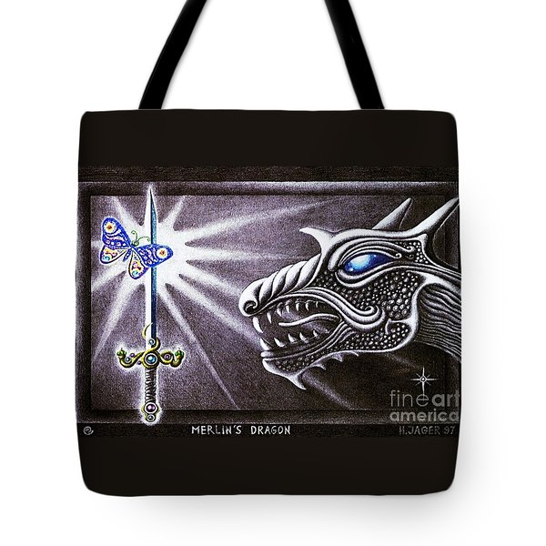Tote Bag featuring the drawing Merlin's Dragon by Hartmut Jager