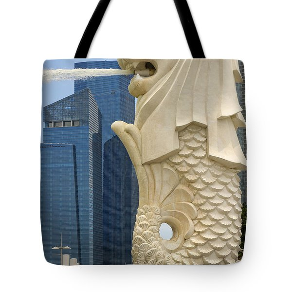 Merlion Statue By Singapore River Tote Bag by David Gn