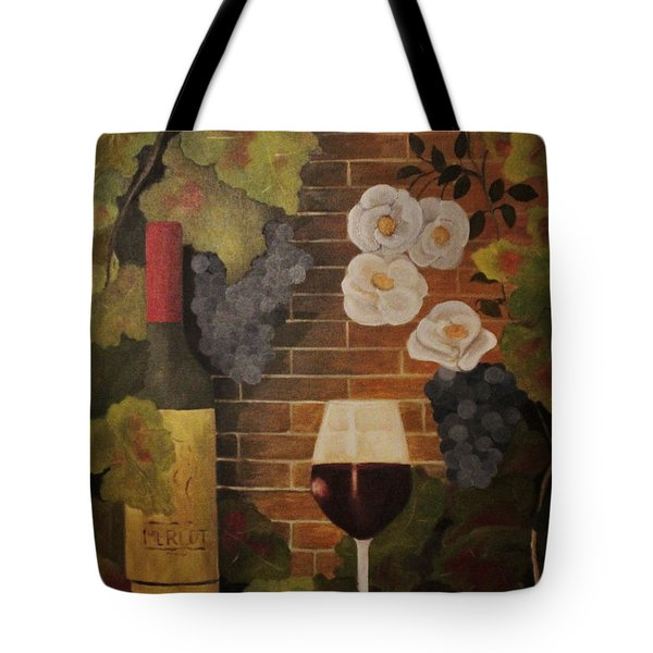 Tote Bag featuring the painting Merlot For The Love Of Wine by John Stuart Webbstock