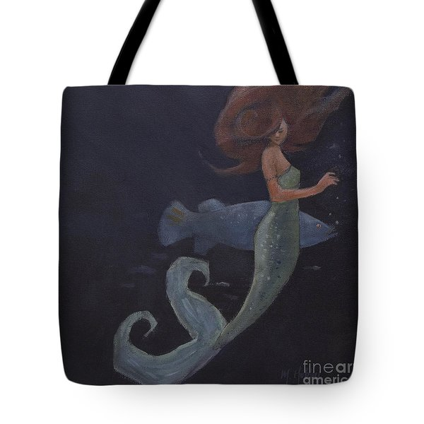 Mermaid And The Blue Fish Tote Bag