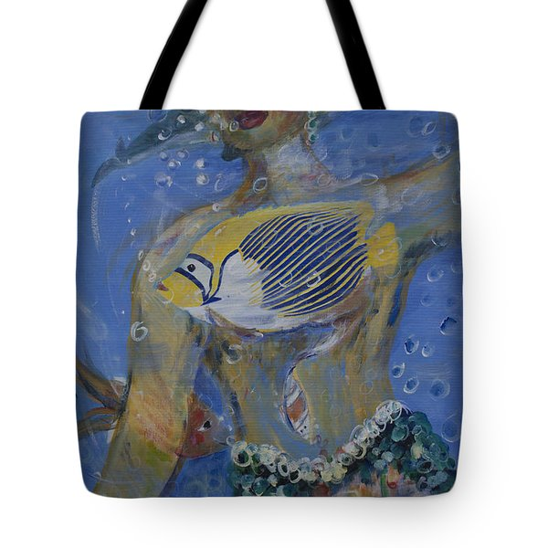 Tote Bag featuring the painting Mermaid by Avonelle Kelsey