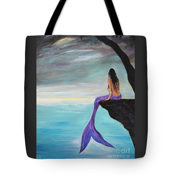 Mermaid Oasis Tote Bag by Leslie Allen