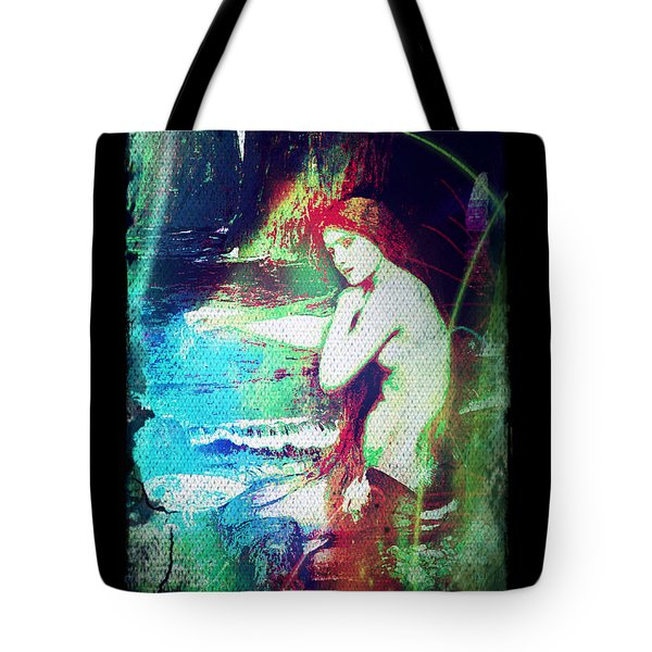 Tote Bag featuring the digital art Mermaid Of The Tides by Absinthe Art By Michelle LeAnn Scott
