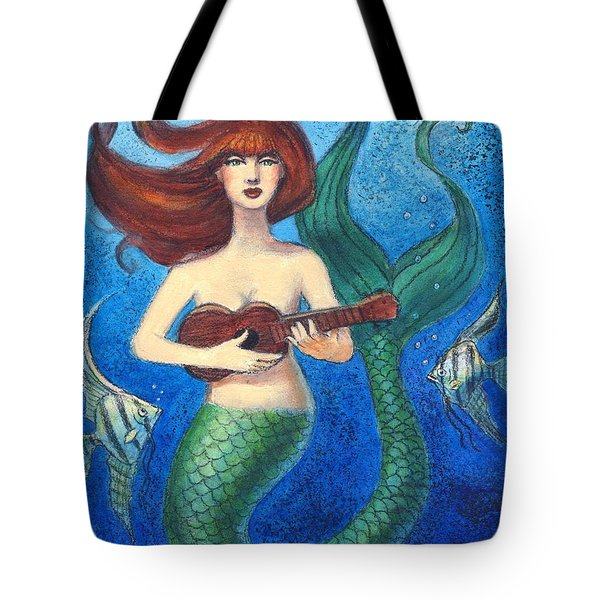Tote Bag featuring the painting Mermaid Ukulele Angels by Sue Halstenberg
