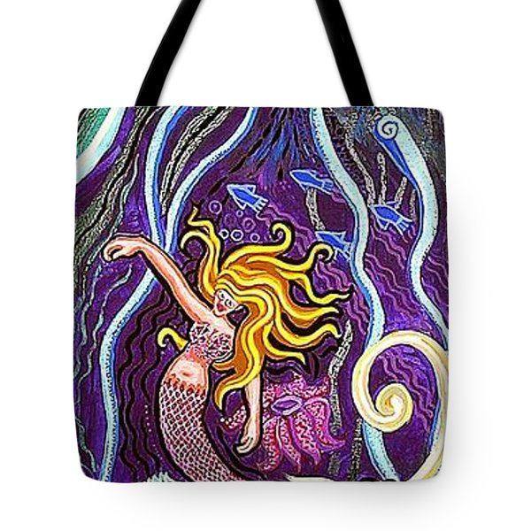 Mermaid Under The Sea Tote Bag by Genevieve Esson