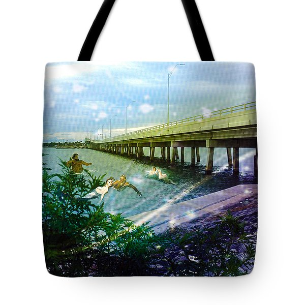 Tote Bag featuring the digital art Mermaids In Indian River by Megan Dirsa-DuBois