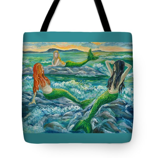 Mermaids On The Rocks Tote Bag by Julie Brugh Riffey