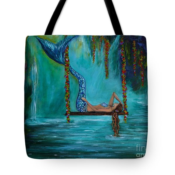 Mermaids Tranquility Tote Bag by Leslie Allen