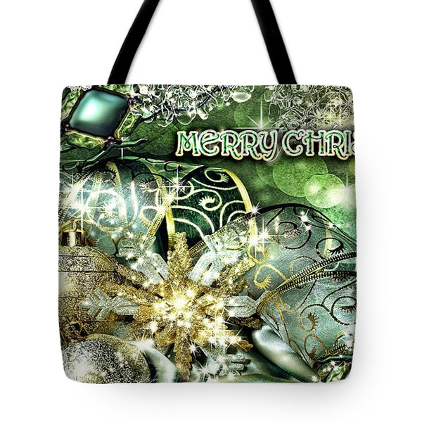 Merry Christmas Green Tote Bag by Mo T