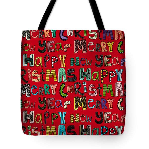 Merry Christmas Happy New Year Red Tote Bag