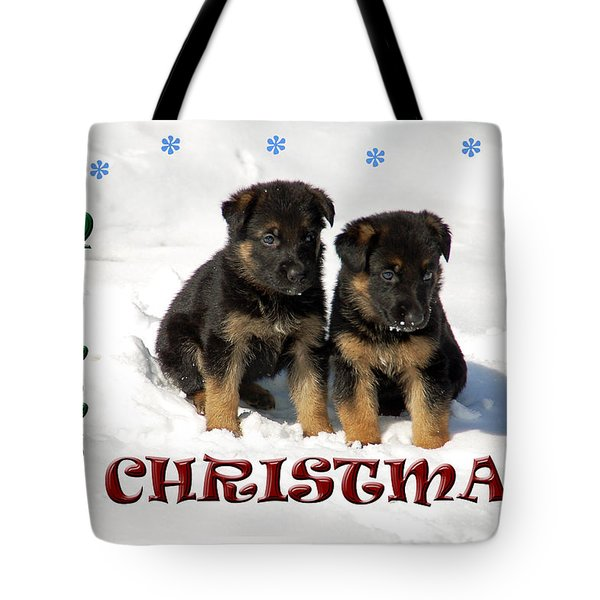 Merry Christmas Puppies Tote Bag by Aimee L Maher Photography and Art Visit ALMGallerydotcom