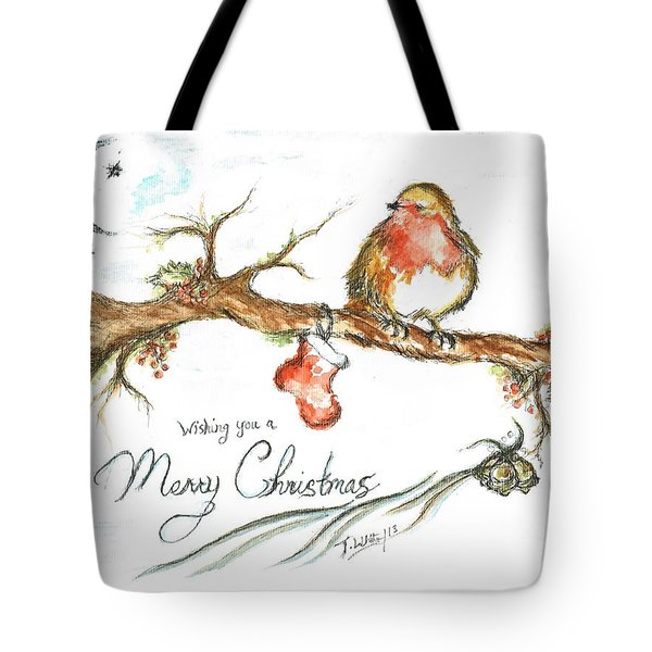Merry Christmas Robin Tote Bag