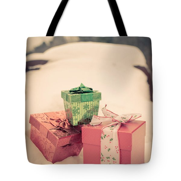 Merry Christmas Vintage Car Card Tote Bag