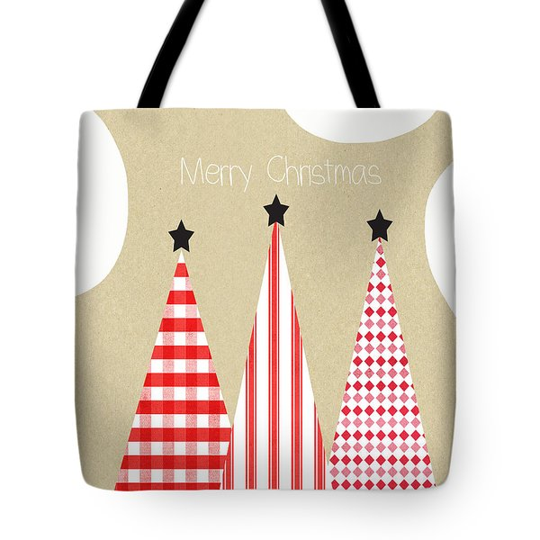 Merry Christmas With Red And White Trees Tote Bag