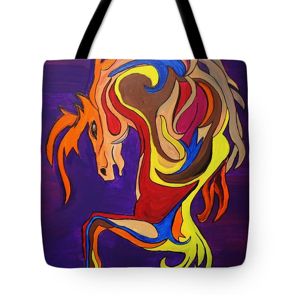 Tote Bag featuring the painting Merry Go Round Carousel Horse by Janice Rae Pariza