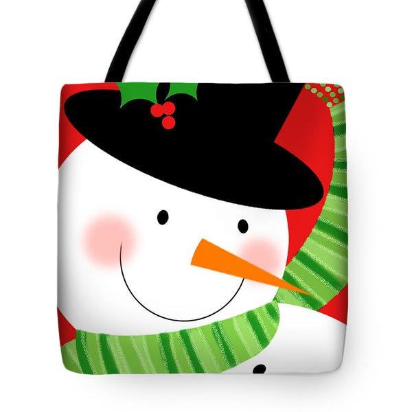 Merry Snowman Tote Bag