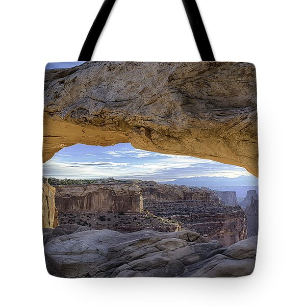 Tote Bag featuring the photograph Mesa Arch Canyonlands by Bitter Buffalo Photography