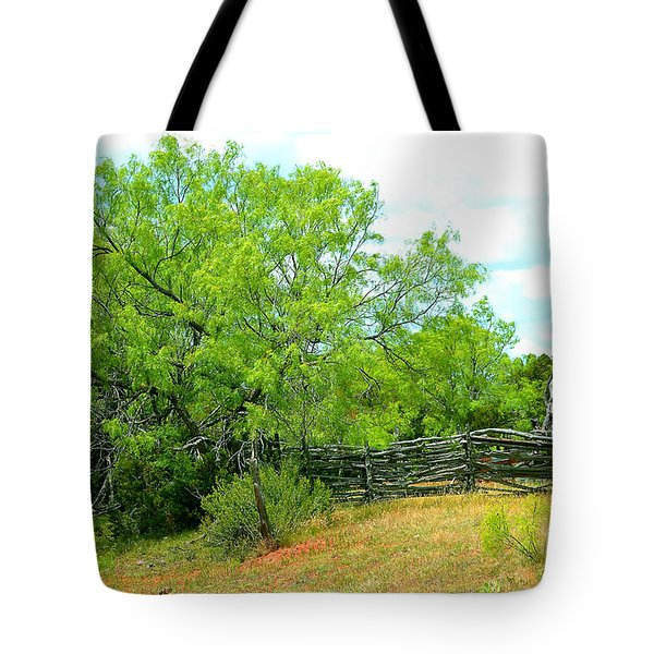 Mesquite Tree And Cedar Post Fence Tote Bag