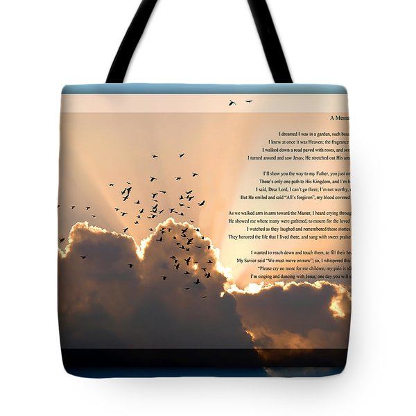 Message From Heaven Tote Bag