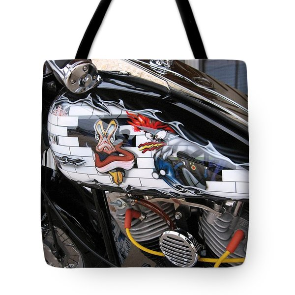 Tote Bag featuring the photograph Metal - Motorcycle - The Wall by Susan Carella