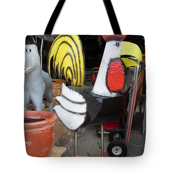 Metal Rooster And Donkey Tote Bag by Donna Wilson