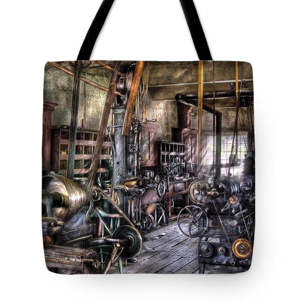 Metal Worker - Belts And Pullies Tote Bag by Mike Savad