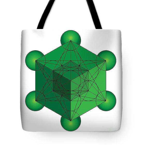 Metatron's Cube In Green Tote Bag