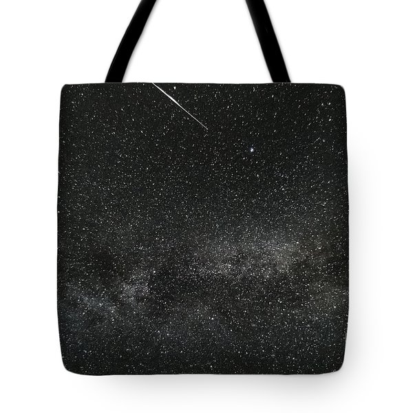 Meteor With The Milky Way Tote Bag