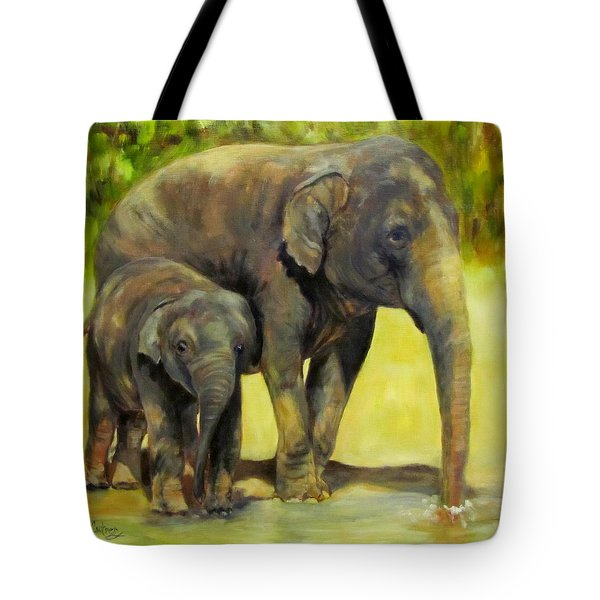 Thirsty, Methai And Baylor, Elephants  Tote Bag
