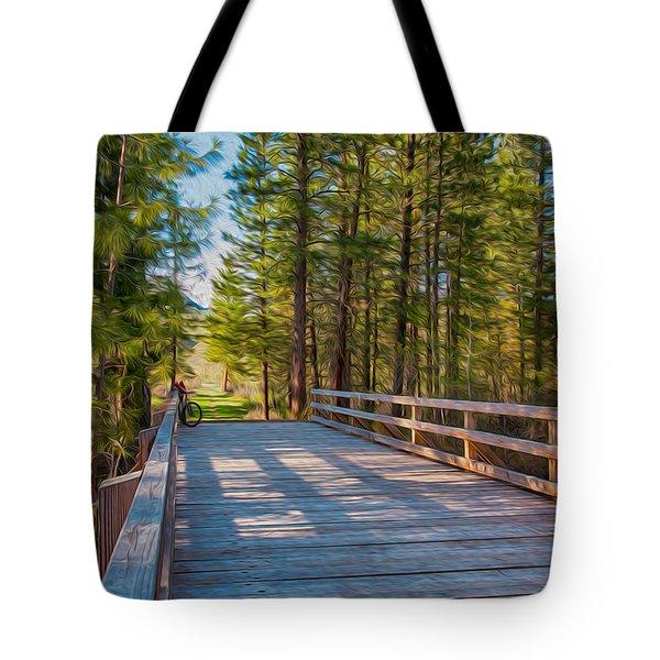 Methow Valley Community Trail At Wolf Creek Bridge Tote Bag by Omaste Witkowski