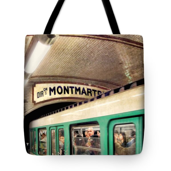 Tote Bag featuring the photograph Metro To Montmartre. Paris   by Jennie Breeze