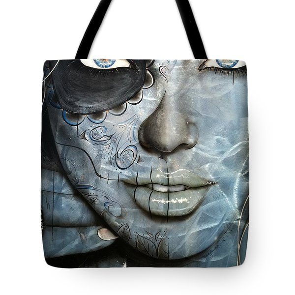 Sugar Skull - ' Metallic Messiah ' Tote Bag by Christian Chapman Art